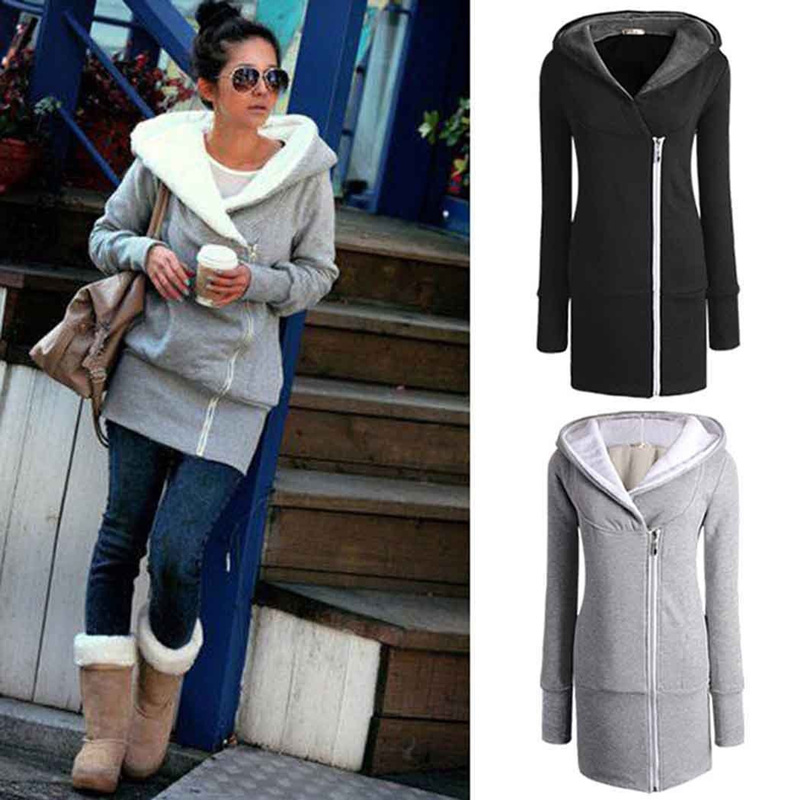 womens autumn winter long zip tops hoodie coat jacket outerwear women - 네이버쇼핑