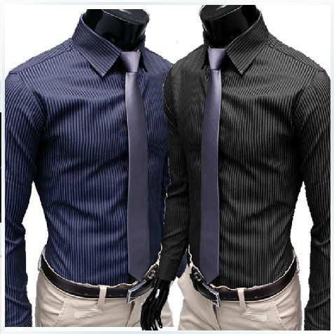 hot new fashion men s stripe stylish casual slim fit long sleeve dress shirts - 네이버쇼핑