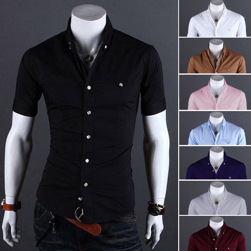 new fashion men short sleeve shirts mens dress chemise homme m - 네이버쇼핑
