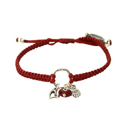 MIZZE 굳잡몰_팔찌 Macrame Charm for Women with Evil Eye Hamsa Hand and Heart in Sterling Silver - 네이버쇼핑
