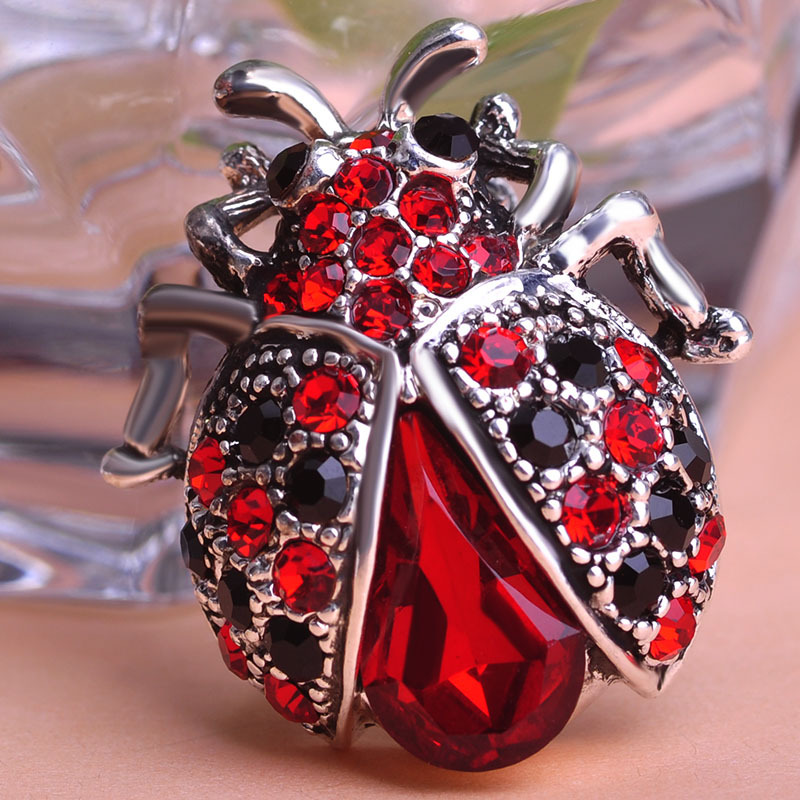 Wholesale Hot Ladybug Brooch Silver Plated Rhinstone Broach coccinelle Femme Scarf Hijab Pins Clips - 네이버쇼핑