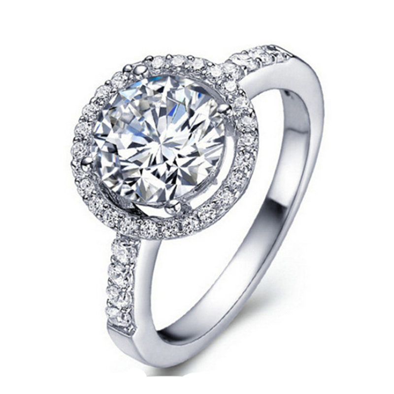 White gold plated fashion jewelry for women round shape CZ diamond rings wedding engagement accessor - 네이버쇼핑