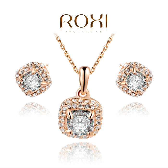 roxi brand fashion rose plated clear crystal jewelry set australian necklace amp earr - 네이버쇼핑