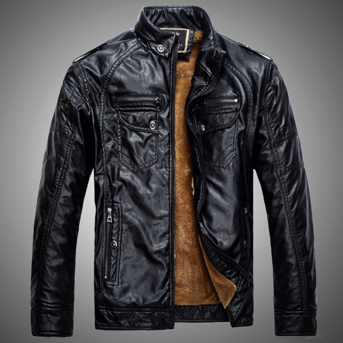 leather jacket men motorcycle pu warm velvet coat mens clothes P4080 - 네이버쇼핑