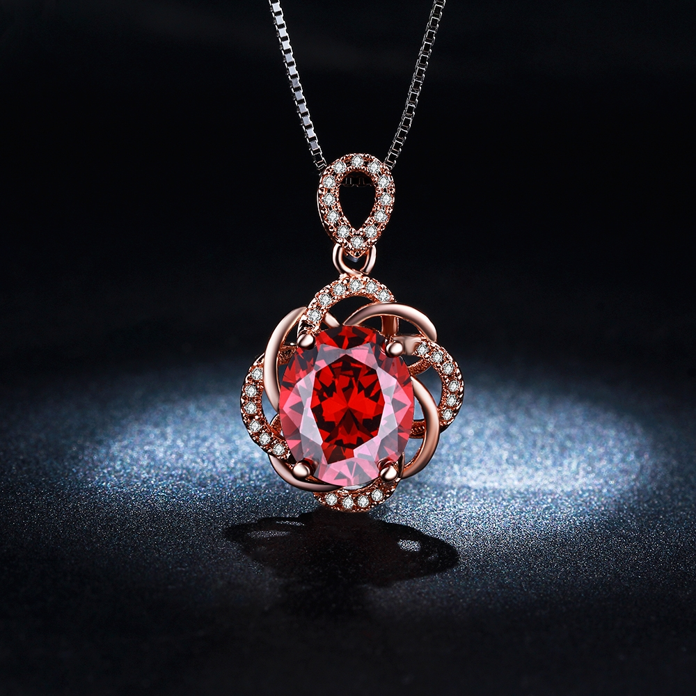 Red flower cz diamond rose gold plated pendants necklace for women luxury engagement wedding jewelry - 네이버쇼핑