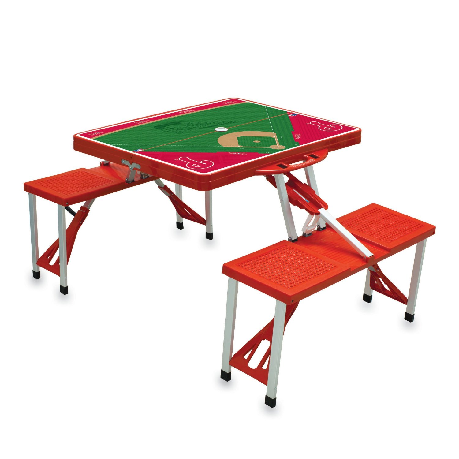 Picnic Time Portable Folding Table with Poker Design and Seating for 4 Red - 네이버쇼핑