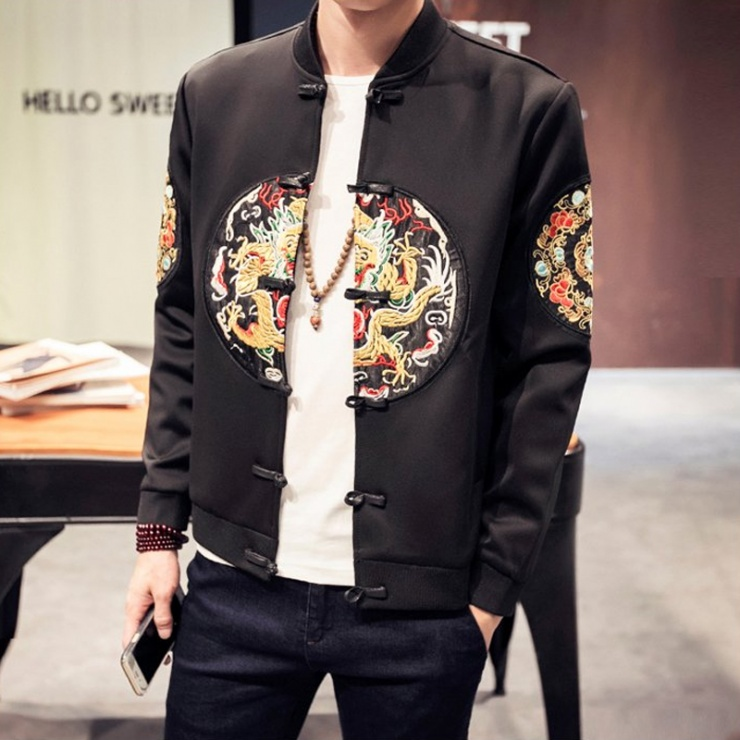 남성 상의 캐쥬얼 점퍼 자켓 give up chinesestyle fashion men ' s embroidery yongpo of south retro jacket - 네이버쇼핑