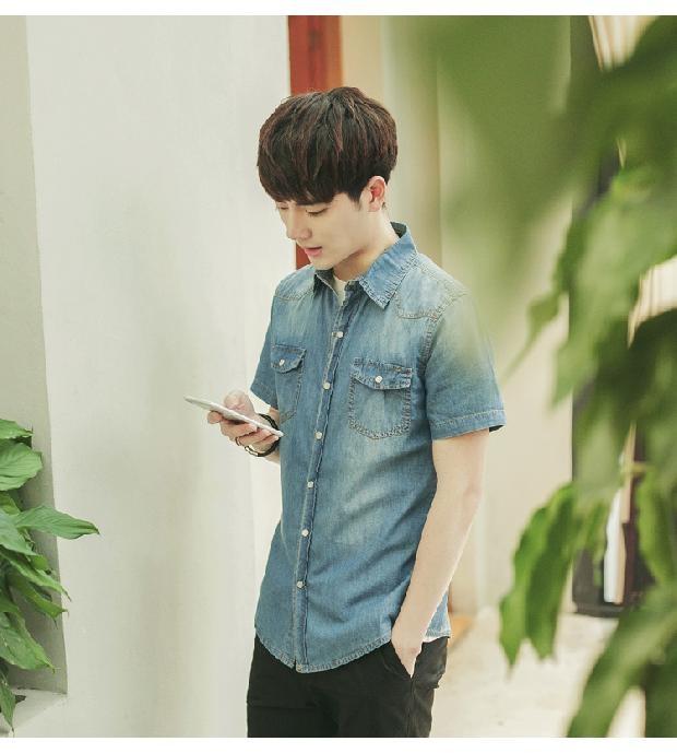 남성 상의 셔츠 korean slim thin section fashion casual cotton tshirt denim - 네이버쇼핑