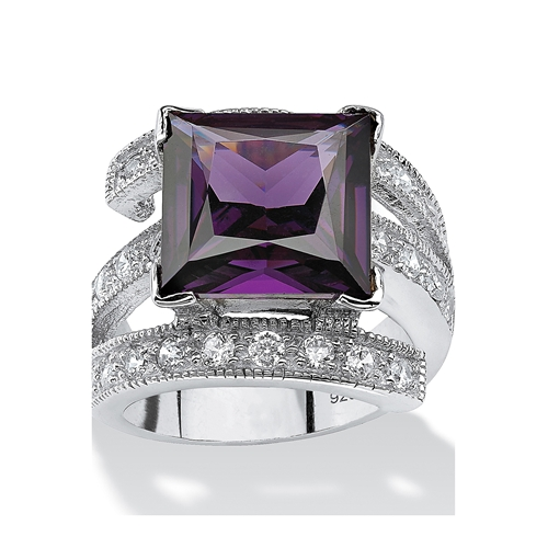 Seta Jewelry 5.66 Tcw Princess-Cut Purple Cubic Zirconia Sterling Silver Cocktail Ring Sizes 7-12 - 네이버쇼핑