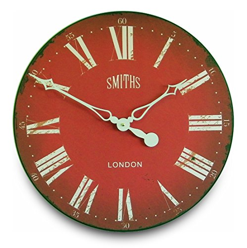 Roger Lascelles Clocks GAL/SMITHS/RED Wall Clock Large Red - 네이버쇼핑