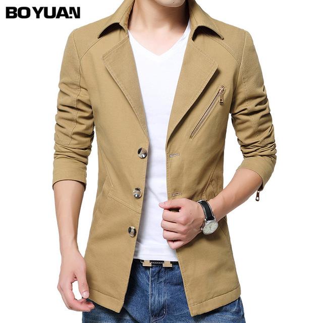 airgracias autumn fashion windbreak jacket men clothes cotton overcoat casual mens long jack - 네이버쇼핑