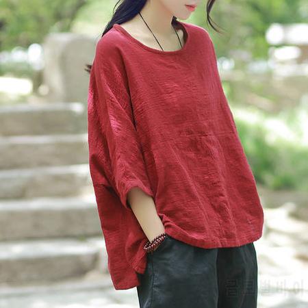 johnature women tshirts casual tops autumn new cotton linen colour short sleeve oneck loose - 네이버쇼핑