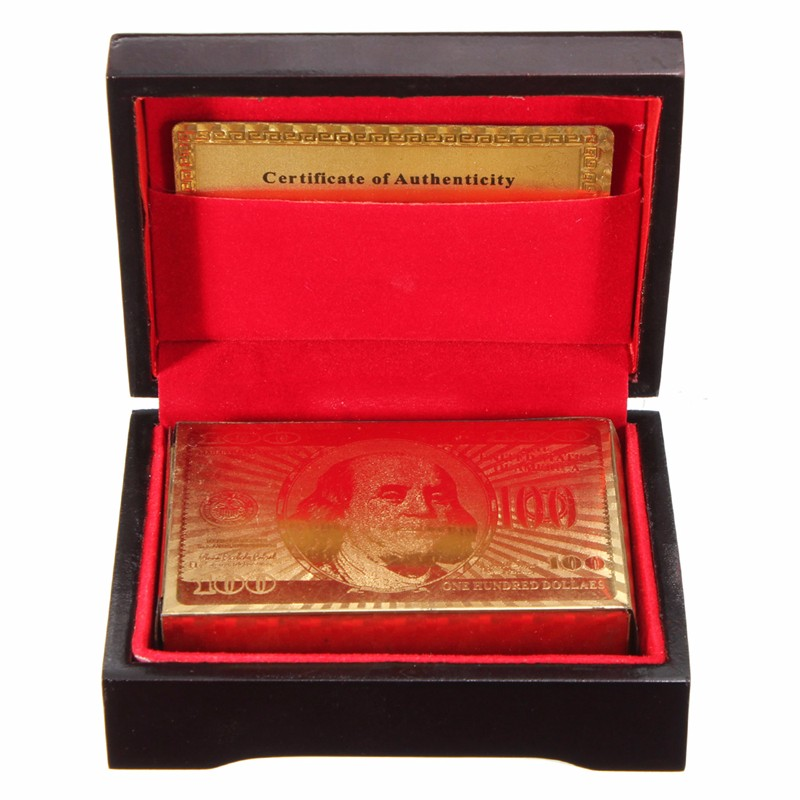 Special Unusual Gift Carat Gold Foil Plated Poker Playing CardWooden Box And Certificate NEW - 네이버쇼핑