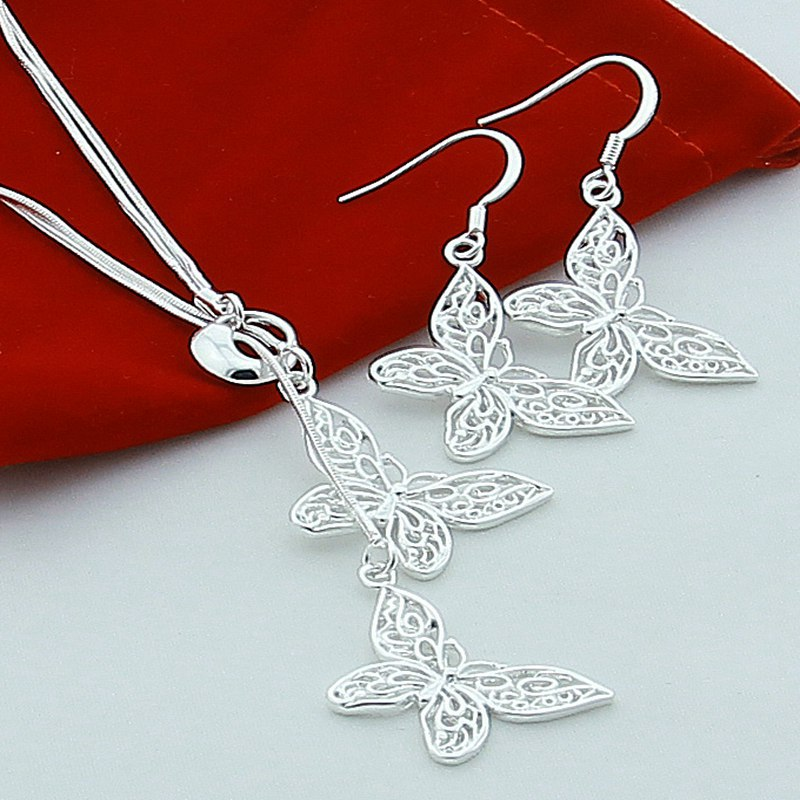 women sets jewelry plated charm butterfly necklaces earrings e328 - 네이버쇼핑