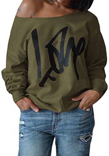 AM CLOTHES clothes womens love letter printed off shoulder pullover sweatshirt 2xlarge army b 7125230AM - 네이버쇼핑
