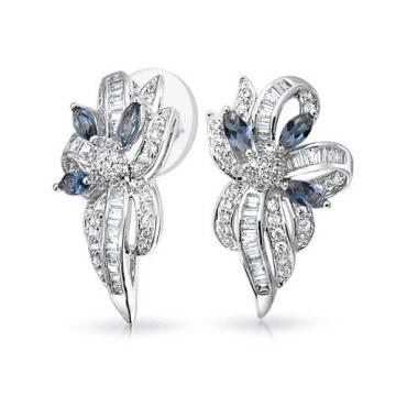 Bling Jewelry Simulated Sapphire Crystal CZ Ribbon Earrings Rhodium Plated Brass - 네이버쇼핑