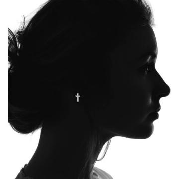 노브랜드 Lesa Michele Cubic Zirconia Cross Earrings in Sterling Silver - 네이버쇼핑
