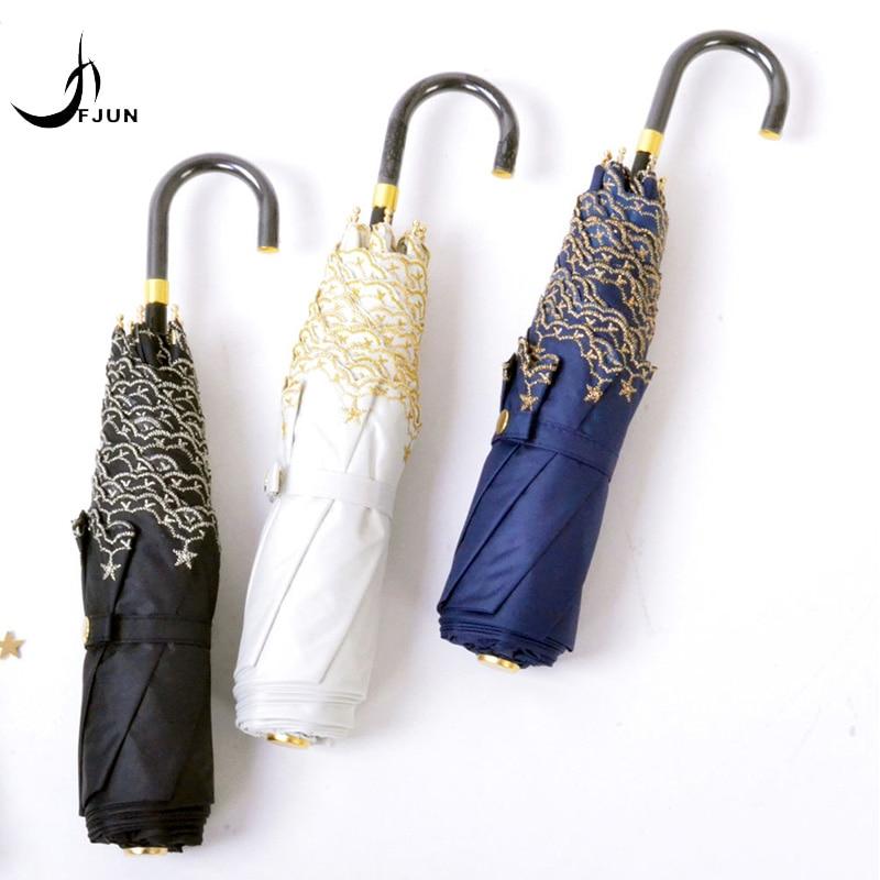 Moda japonesa pequena estrela bordado gancho três dobrável guarda-sol feminino guarda-chuva de renda anti-UV - 네이버 쇼핑