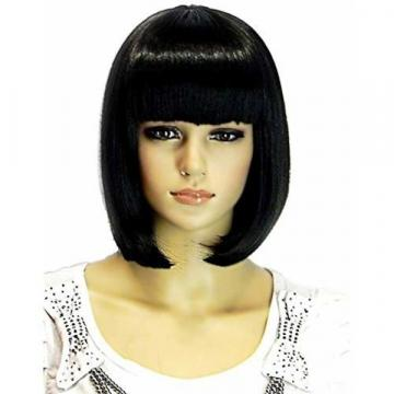 Sotica Womens Short Bob Wigs with Flat Bangs Straight Yaki Synthetic Hair Wigs for Wom 376662 - 네이버쇼핑