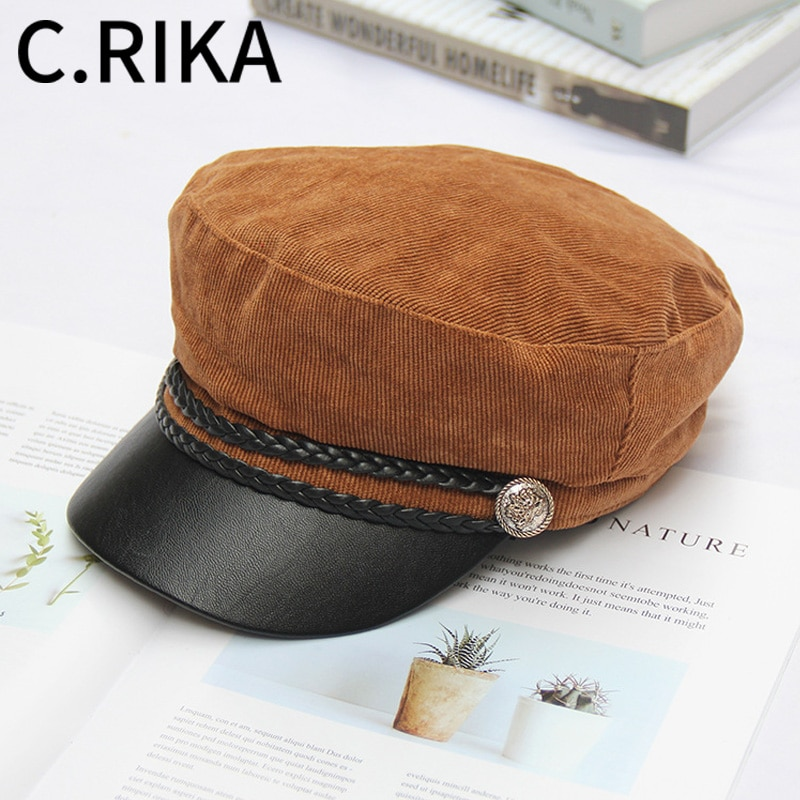 AUTUMN WINTER WOMEN VINTAGE CORDUROY MILITARY HATS LEATHER HAT LADY GIRLS OUTDOOR TRAVEL WARM BERET - 네이버쇼핑