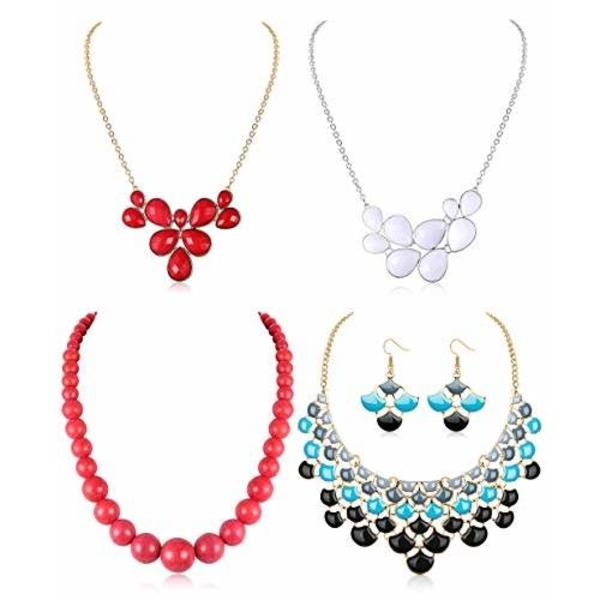 ORAZIO Bib Chunky Statement Necklaces for Women Girls Fashion Costume Jewelry - 네이버쇼핑