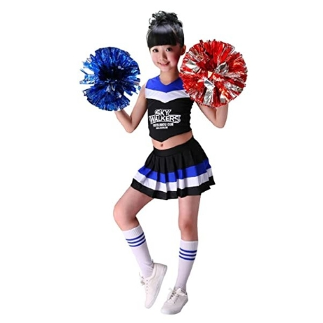 G Kids Girls Cheerleader Costume Kids Cheerleader Uniform Carnival Party Halloween Costume with 2 Po - 네이버쇼핑