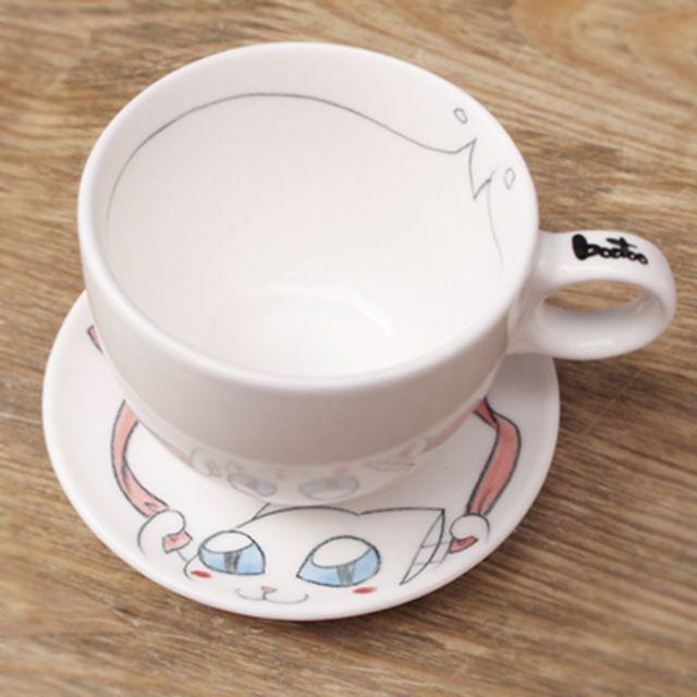 부뚜막고양이 부뚜막고양이 미묘스 에스프레소 커피잔 2인조 4P